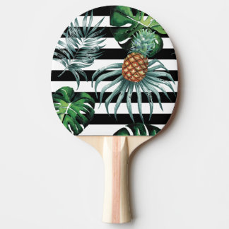 Watercolor tropical pineapple with black stripes ping pong paddle