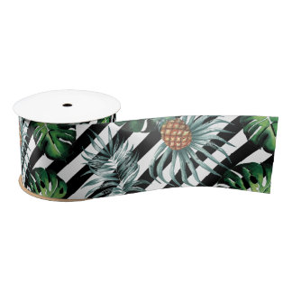 Watercolor tropical pineapple with black stripes satin ribbon