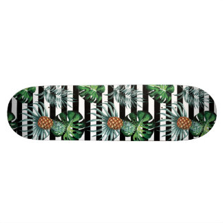Watercolor tropical pineapple with black stripes skate boards