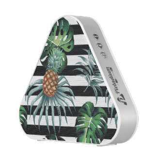 Watercolor tropical pineapple with black stripes speaker