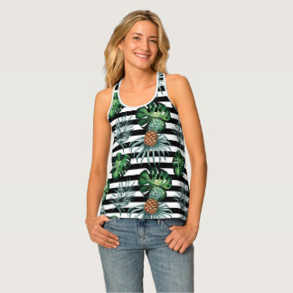 Watercolor tropical pineapple with black stripes tank top