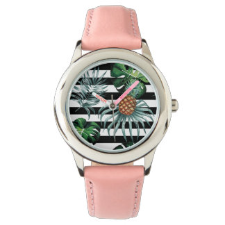 Watercolor tropical pineapple with black stripes watch
