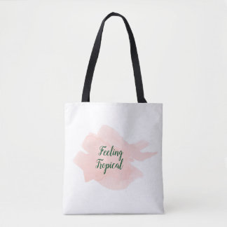 Watercolor tropical pink hand-painted tote bag