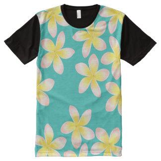 Watercolor Tropical Plumeria Aqua Panel Shirt
