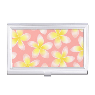 Watercolor Tropical Plumeria Business Card Case
