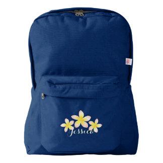 Watercolor Tropical Plumeria Custom Backpack