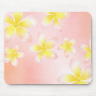 Watercolor Tropical Plumeria Peach Mousepad