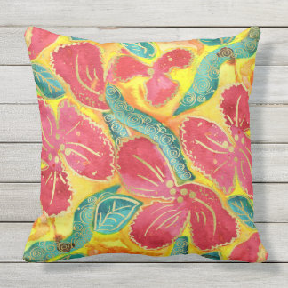Watercolor Tropical Red Hibiscus Gold Glitter Throw Pillow