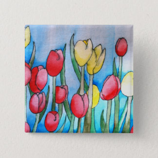 Watercolor Tulips (Kimberly Turnbull Art) 2 Inch Square Button