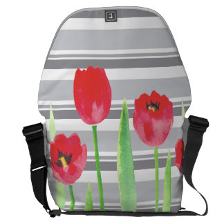 Watercolor tulips with stripes backbag courier bag
