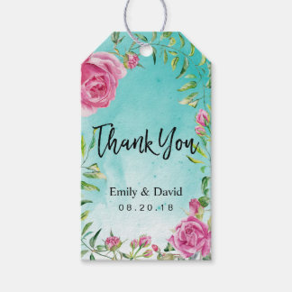 Watercolor Turquoise Floral Wedding Thank You Gift Tags