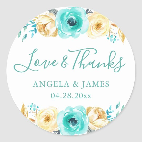 Watercolor Turquoise Gold Floral Wedding Thank You Classic Round Sticker