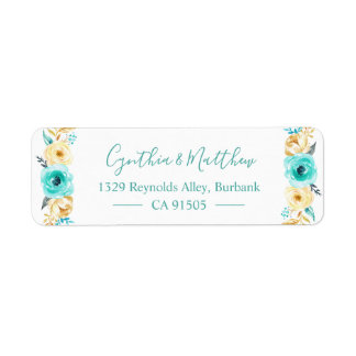 Watercolor Turquoise Mint Gold Floral
