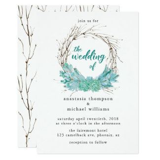Watercolor Twigs & Light Green Succulents Wedding Card