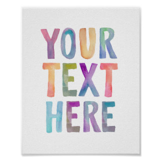 WATERCOLOR TYPOGRAPHY CUSTOM TEXT | POSTER