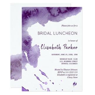 Watercolor ultra violet indigo bridal luncheon card