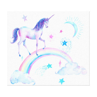 Watercolor Unicorn and Rainbow Canvas Print