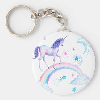 Watercolor unicorn over the rainbow keychain
