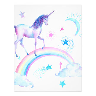 Watercolor unicorn over the rainbow letterhead