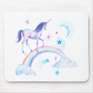 Watercolor unicorn over the rainbow mouse pad