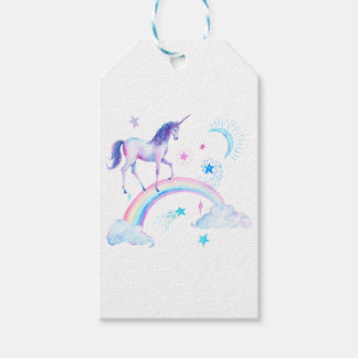 Watercolor unicorn over the rainbow pack of gift tags