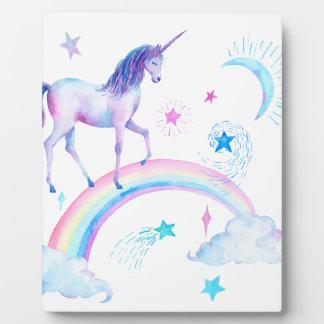 Watercolor unicorn over the rainbow plaque