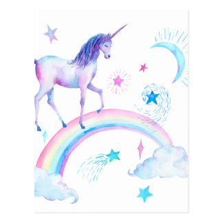 Watercolor unicorn over the rainbow postcard