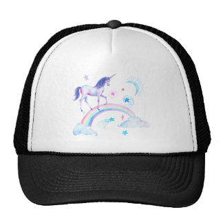 Watercolor unicorn over the rainbow trucker hat
