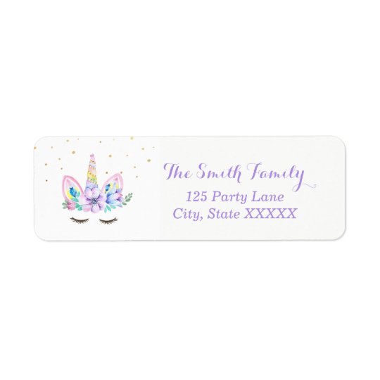 Watercolor Unicorn Return Address Sticker