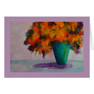 Watercolor Vase with Flowers Greeting Card