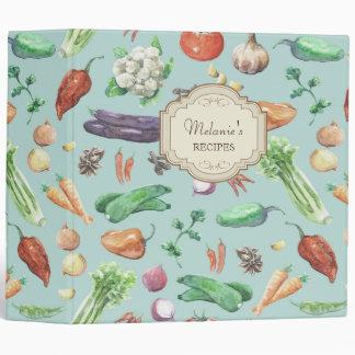 Watercolor Veggies & Spices Pattern 3 Ring Binders