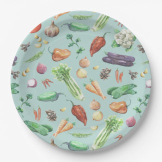 Watercolor Veggies & Spices Pattern 9 Inch Paper Plate