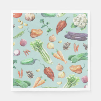 Watercolor Veggies & Spices Pattern Paper Napkins