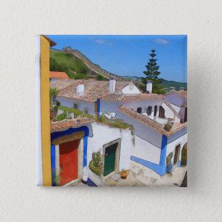 Watercolor village 2 inch square button