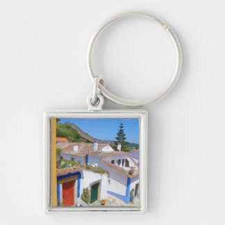 Watercolor village keychain