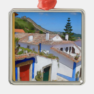 Watercolor village metal ornament