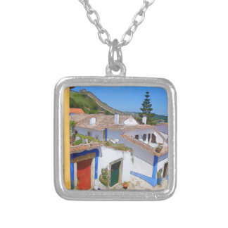 Watercolor village silver plated necklace