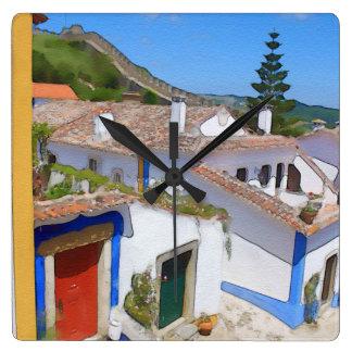 Watercolor village square wall clock