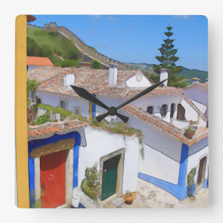 Watercolor village wall clock