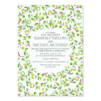 Watercolor Vine Blooms Garden Wedding Card
