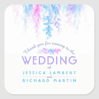 Watercolor vine blue purple wedding stickers