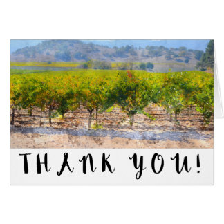 Watercolor Vineyard and Winery Wedding Thank You Card