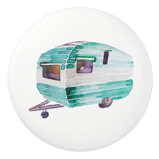 Watercolor Vintage Camper Trailer Knob Pull v. 5
