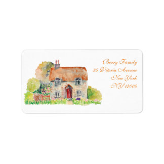 Watercolor Vintage Cottage Address Label
