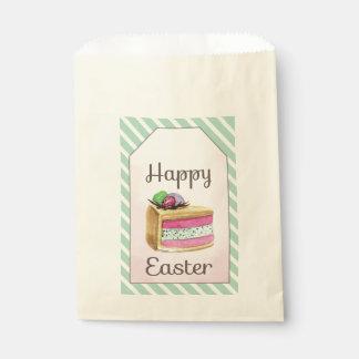 Watercolor vintage Happy Easter cake slice Favour Bag