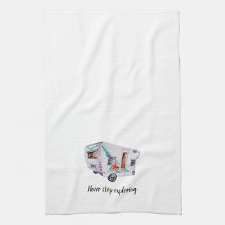 Watercolor Vintage Retro Camper Kitchen Dish Towel