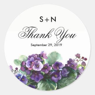 Watercolor viola flower wedding classic round sticker