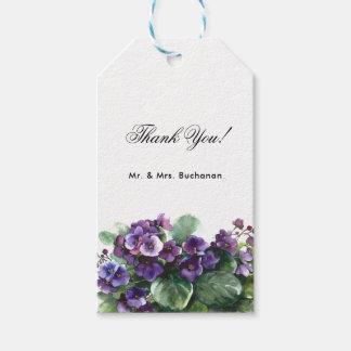 Watercolor viola flower wedding gift tags