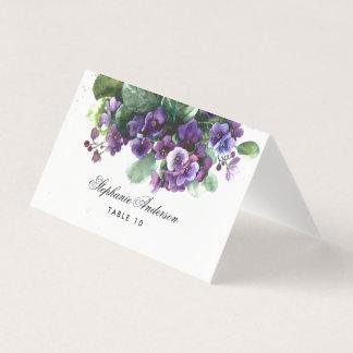 Watercolor viola flower wedding place card