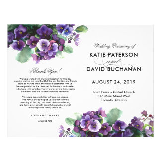 Watercolor viola flower wedding program